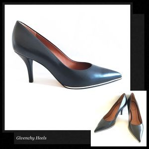 GIVENCHY Black Leather Gold Trim High Heel Pumps